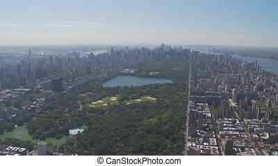 aerial view central park part IV - aerial view east river,...