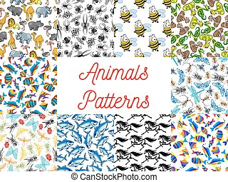 Animals and fishes seamless background set
