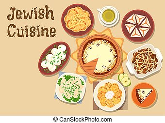 Jewish cuisine dinner menu with dessert icon - Jewish...