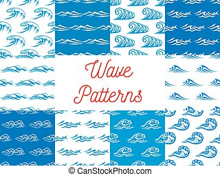 Blue and white ocean waves seamless patterns set