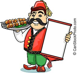 Turkish cook with menu and shashlik - Turkish cuisine icon....