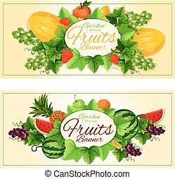 Natural fruits and berries banners - Fruits banners with...
