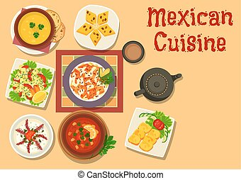 Mexican cuisine authentic dinner dishes icon - Mexican...