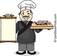 Japanese cook with menu and sushi