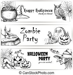 Halloween pencil sketch decoration elements - Halloween...
