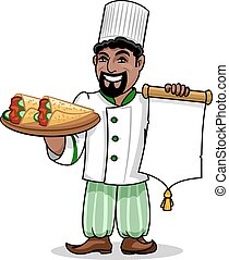 Arabian restaurant Chef with menu and pita kebab