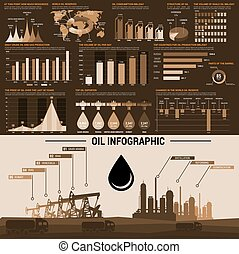 Oil industry infographics design template - Oil infographics...