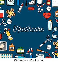 Healthcare and medicine sketched background - Healthcare and...