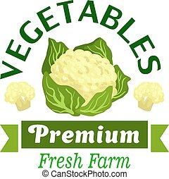 Fresh vegetables badge with cauliflower cabbage - Fresh farm...