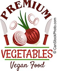Fresh healthy onion vegetable badge - Premium farm...
