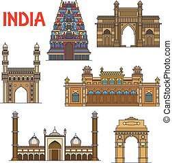 Indian travel landmarks thin line icon - Travel landmarks of...