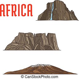 Natural travel landmarks of Africa icon, thin line - Travel...