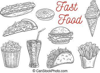 Fast food snacks and drinks icons sketch - Fast food snacks...