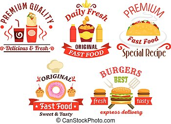 Fast food sandwich, drink and dessert badges