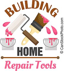 Home building and repair work tools icon