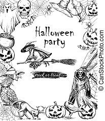 Line sketch vector vintage poster for Halloween
