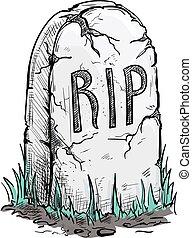 RIP tomb grave stone sketch icon