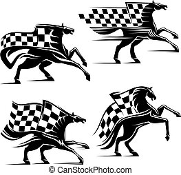 Horse with checkered flag. Racing sport icons