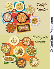Portuguese and polish cuisine icon for food design - Polish...