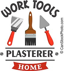 Plasterer repairs home work tools icon - Plasterer repairs...