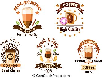 Cafe badges with coffee drinks and pastry - Coffee drinks...