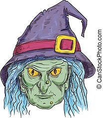 Witch head in sorcerer hat sketch icon - Old witch with ugly...
