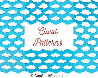 Cartoon cumulus clouds seamless patterns - Cartoon cumulus...