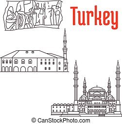 Historic architecture and sightseeings of Turkey