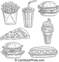 Fast food snacks and drinks sketch icons - Fast food pencil...