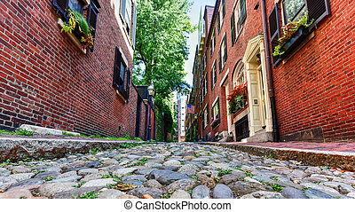 Acorn Street - Boston, Massachusetts - Acorn Street in...