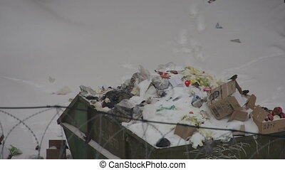Garbage bin in winter - Garbage bin and snow near prison