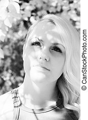 Beautiful Blond Woman Shot with Infrared Camera - Infrared...