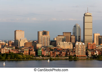 Boston Skyline Blur - Blurred background of the skyline of...