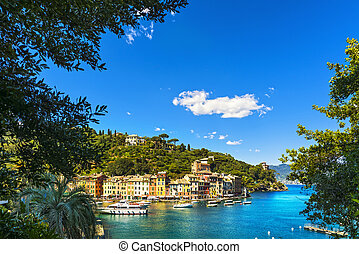 Portofino luxury village landmark, aerial view and trees....
