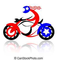 American Rider - American biker fast riding motorcycle,...