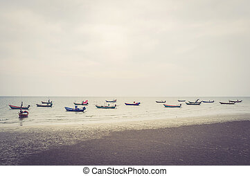 Local fisher boats on a beach at Chantaburi, Thailand....