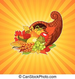 Horn of plenty - Thanksgiving background with cornucopia...