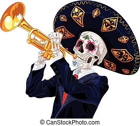 Day of the Dead Trumpet Player - Day of the dead trumpet...