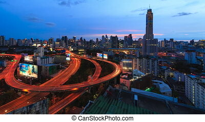 Time-Lapse Night Traffic FastMotion - BANGKOK, THAILAND -...