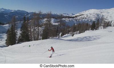 woman skiing - skiing woman