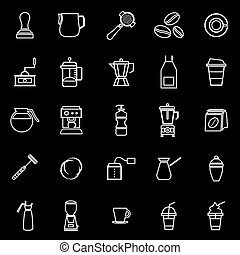 Barista line icon on black background, stock vector