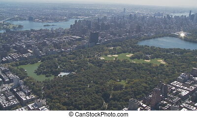 central park from heli - aerial view of central park...