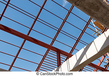 Structural steel beam on roof of building, Background -...