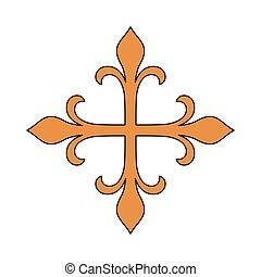 Isolated gold cross design - Gold cross icon religion...