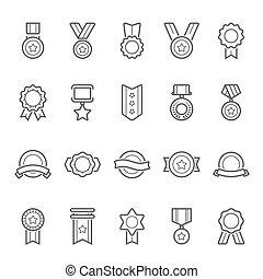 Badges awards outline stroke icon set