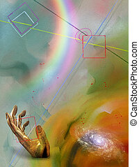 Rainbow in hand - Futurism Abstract, Rainbow in hand