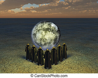 The conjurer priests - Hooded caped figures sphere of the...