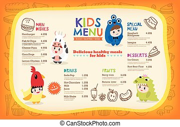 Cute colorful kids meal menu template - Cute colorful kids...