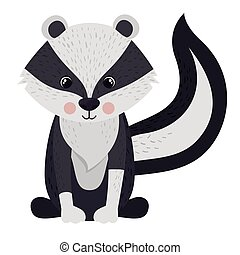 Isolated skunk cartoon design - Skunk cartoon icon Forest...