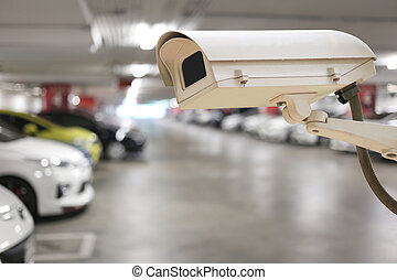 CCTV camera digital video recorder in car park. - CCTV...